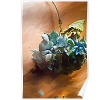 Hydrangea on the Hardwood Floor Poster
