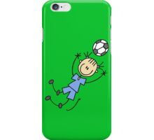 Girl blue uniform soccer player and gifts geek funny nerd iPhone Case/Skin