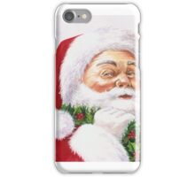 Santa with a holly wreath iPhone Case/Skin