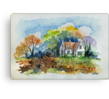 THE HOUSE OF THE FORESTER - AQUAREL Canvas Print