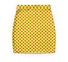 Yellow Red Polka Dots  Mini Skirt