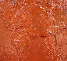 Thick and uneven layer of red paint by vladromensky