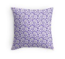Lavander Vintage Wallpaper Style Flower Patterns Throw Pillow
