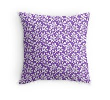 Light Purple Vintage Wallpaper Style Flower Patterns Throw Pillow
