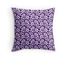 Purple Vintage Wallpaper Style Flower Patterns Throw Pillow