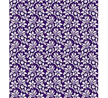 Purple Vintage Wallpaper Style Flower Patterns Photographic Print
