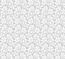 Light Grey Vintage Wallpaper Style Flower Patterns by ImageNugget
