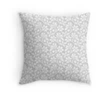 Light Grey Vintage Wallpaper Style Flower Patterns Throw Pillow