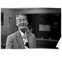 Vietnam - Portrait of elderly man at snooker hall in Dalat Poster