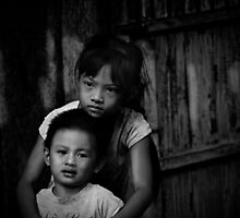 Vietnam - Brother and sister, looking for Mother by Chris Bishop