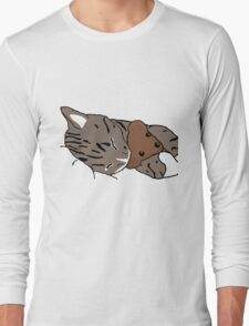 Sleepy Kitty With Teddy Bear Long Sleeve T-Shirt