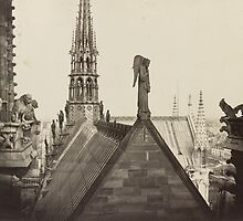 Vintage Paris Photo - View from the Top of Notre Dame Cathedral - Charles Marville - 1860 by VintageParis