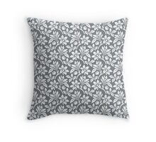 Cool Grey Vintage Wallpaper Style Flower Patterns Throw Pillow