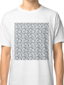 Cool Grey Vintage Wallpaper Style Flower Patterns Classic T-Shirt