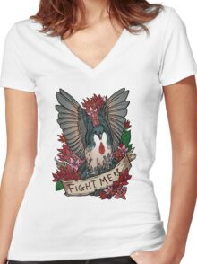 FIGHT ME!! Women's Fitted V-Neck T-Shirt