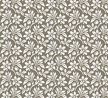 Warm Grey Vintage Wallpaper Style Flower Patterns by ImageNugget