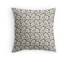 Warm Grey Vintage Wallpaper Style Flower Patterns Throw Pillow