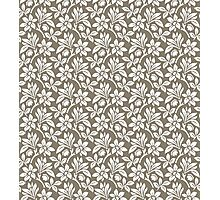 Warm Grey Vintage Wallpaper Style Flower Patterns Photographic Print