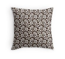 Chocolate Vintage Wallpaper Style Flower Patterns Throw Pillow