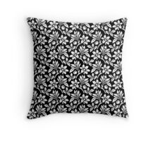 Black Vintage Wallpaper Style Flower Patterns Throw Pillow