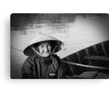 Vietnam - Begger on canoe in Hoi Ann Canvas Print