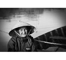 Vietnam - Begger on canoe in Hoi Ann Photographic Print