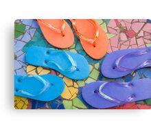 """Flip Out Color"" - flip flops on top of colorful tile Canvas Print"
