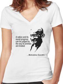 Gandhi Animal Rights T-Shirt Women's Fitted V-Neck T-Shirt