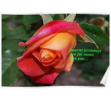 Rose birthday card for mom Poster