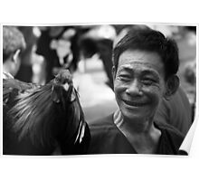 Vietnam - Man with winning Rooster from Cock-fight Poster