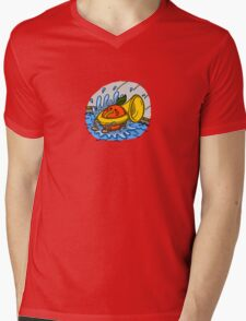 Mike's Brass Mascot Mens V-Neck T-Shirt