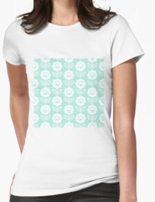 Mint Fun Smiling Cartoon Flowers Womens Fitted T-Shirt