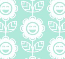 Mint Fun Smiling Cartoon Flowers Sticker