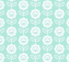 Mint Fun Smiling Cartoon Flowers by ImageNugget