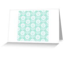 Mint Fun Smiling Cartoon Flowers Greeting Card