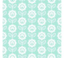 Mint Fun Smiling Cartoon Flowers Photographic Print