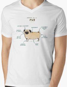 Anatomy of a Pug Mens V-Neck T-Shirt