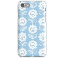 Light Blue Fun Smiling Cartoon Flowers iPhone Case/Skin