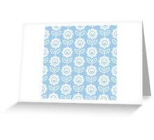 Light Blue Fun Smiling Cartoon Flowers Greeting Card
