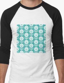 Teal Fun Smiling Cartoon Flowers Men's Baseball ¾ T-Shirt