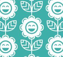 Teal Fun Smiling Cartoon Flowers Sticker