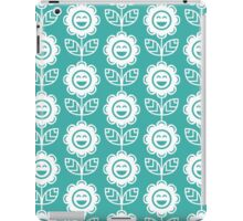 Teal Fun Smiling Cartoon Flowers iPad Case/Skin