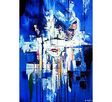 Abstract portrait - Three shapes coming out of blue Photographic Print