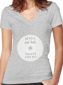 Parks and Recreation - Benji's Cool Times Summer Jamz Mix Women's Fitted V-Neck T-Shirt