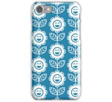 Blue Fun Smiling Cartoon Flowers iPhone Case/Skin