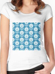 Blue Fun Smiling Cartoon Flowers Women's Fitted Scoop T-Shirt