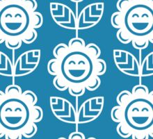 Blue Fun Smiling Cartoon Flowers Sticker
