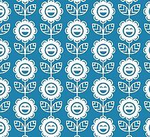 Blue Fun Smiling Cartoon Flowers by ImageNugget