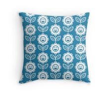 Blue Fun Smiling Cartoon Flowers Throw Pillow