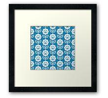 Blue Fun Smiling Cartoon Flowers Framed Print